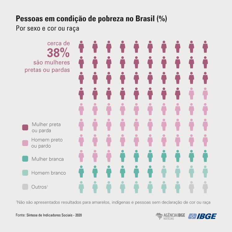 pessoas em condição de pobreza no Brasil (%) por sexo ou raça