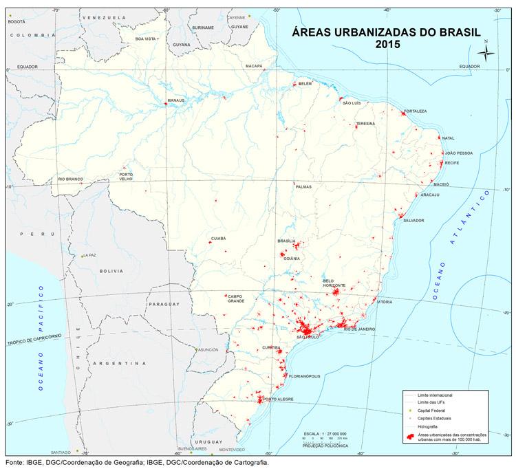 #PraCegoVer Mapa das áreas urbanizadas do Brasil