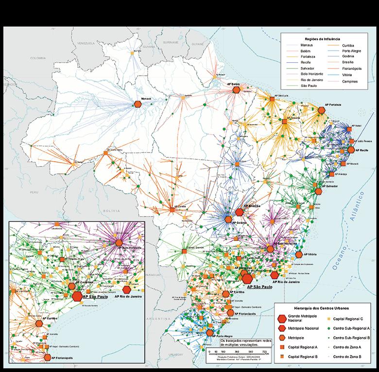 mapa redeurbana regic - Vitória passa a ser considerada uma das maiores metrópoles do Brasil