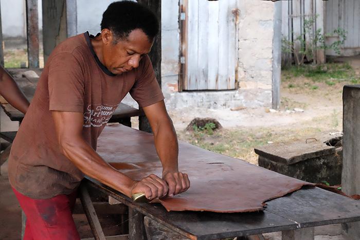 Produção de couro de búfalo em curtume na Ilha de Marajó
